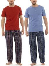 Tom Franks Mens Checked Cotton Mix Button T-Shirt Long Pyjamas