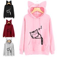 Women's Hoodie Sweatshirt Print Cat Ear Hooded Sweater Long Sleeve Coat Pullover