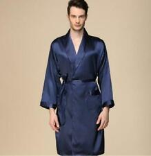 Mens Satin Silk Strap Kimono Pajamas Loose Bathrobe Robe Gown Nightwear Oversize