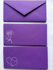 Sobres Púrpura Claro, Corazones O Flor, 120GSM, invitación de boda, ocasiones