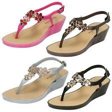 Ladies Savannah Glitter Flower Detail Wedge Toe Post Sandals