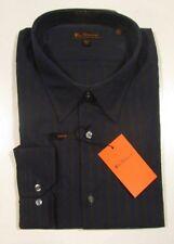 Ben Sherman Men's Trim Fit Navy Blue & Charcoal Gray Stripe Dress Shirt