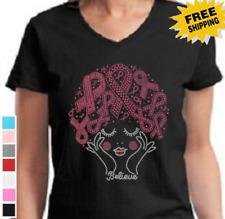 Breast Cancer Awareness Rhinestone Believe Cure Pink Ribbon Hair Womens T-Shirt