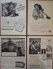 4 Vintage Ads 1942 Americana Themed, Bread,BF Goodrich,Mutual Life