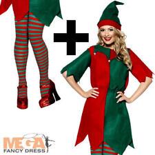 Elf + Tights Ladies Fancy Dress Christmas Xmas Santas Helper Adults Costume New