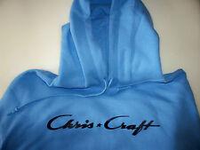 Chris Craft Screen Printed Carolina Blue Hooded Sweatshirt Heavy Weight