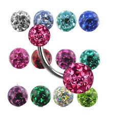Epoxy Multistrass rundum Kugel Bauchnabel Piercing Kristalle beschichtet L:6-12