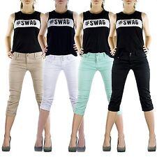 Damen Capri kurze Hose 3/4 Jeans Shorts Damenhose Bemuda Hüft Stretch Gr.36-46