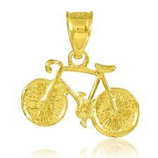 Yellow Gold Mountain Bike Cycling Charm Pendant