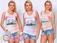 Ladies Vest Top SUMMER Print Sleeveless Casual Viscose T-Shirt Sizes 8-12 FB61