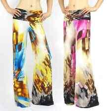 NEW!  Watercolor print foldover waist palazzo wide leg pants S M L