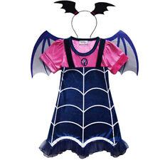 Girls Vampirina Dress with Wing Headwear Cosplay Fancy Party Dress Up Costume