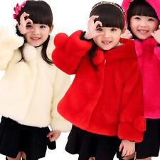 Childrens Baby Girls Winter Fur Coat Kids Warm Fur Fleece Hooded Jacket Outwear