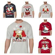 Da Uomo Adulti Novità maglietta divertente XMAS NATALE Stampato T SHIRT cotone Tops