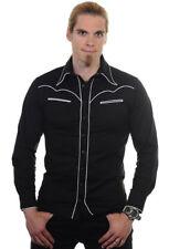 Uomo Nero Gotico Rockabilly Rock Piping Trim Camicia Aderente Uomo Banned Apparel