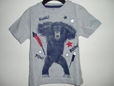 New Patriotic Proud American Grey Short Sleeve T-Shirt Monkey Bang Boom Pow