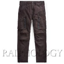 Double Ralph Lauren RRL Mens Black Distressed Washed Slim Military Cargo Pants
