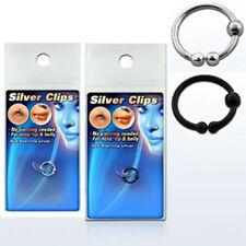 Fake Nasenring 925 Sterling Silber 3 Kugeln 8 mm Lippenpiercing zum klemmen