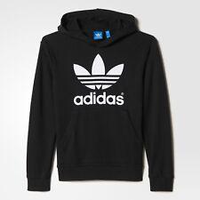 Adidas Originals Junior Trefoil Logo Hooded Sweatshirt Hoodie-ao0074-Black