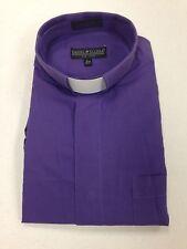 Men's Clerical Clergy Preacher Tab Collar Shirt Purple Long Sleeves