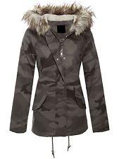 BRAVE SOUL femme militaire camouflage surdimensionné fourrure capuche parka manteau cruz