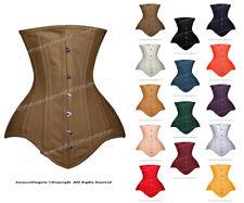 26 Double Steel Boned Heavy Waist Training Cotton Long Torso Underbust Corset