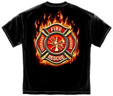 FIREFIGHTER FLAMING MALTESE T-SHIRT FIREMEN FIRE RESCUE FIRE DEPT FD S-3XL MENS