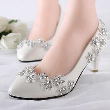 Lace Bling Wedding Formal Bridal Pump High Heels Low Heels flat shoes size 5-12