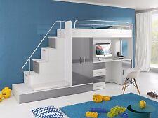 TOMI Hochbett mit Gästebett, Schreibtisch, Schrank und Treppe in Hochglanz weiß