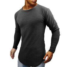 Men's Long Sleeve Slim Fit Curve Hem T Shirt Solid Hipster Hip Hop Male Tops Tee