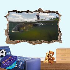 FISHING CARP TACKLE LAKE HOOK 3D SMASHED WALL STICKER ROOM DECOR DECAL MURAL YR6