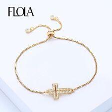 Women's Fashion Jewelry Cross Crucifix Charm Bracelet Paved Setting CZ 67-5