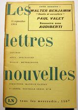 W.BENJAMIN/VALET../NADEAU/LETTRES NOUVELLES/1959/N°22
