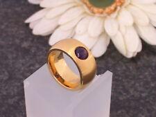 Edelstahl Ring Gelbgold vergoldet Damen Kugel Amethyst lila breiter Bandring 10