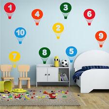 BALLOONS Wall Sticker Learning Numbers Girls Boys Bedroom Nursery Vinyl Art