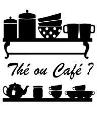 Sticker Cuisine Etagère Tasses Thé Café, Tailles et Coloris Divers (CUISINE032)