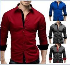 Mens Fashion Casual Luxury Dress Button Down Slim Fit Long Sleeves Shirts HC6453