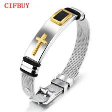 Cross Bracelet Men Length 16.5-21CM Mesh Strap Stainless Steel Black/ Gold Color