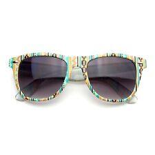 Retro Indie Fun Pattern Color Assorted Print Horned Rim Sunglasses