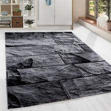 design moderne pierre MUR Tapis à poils ras salon noir gris chiné