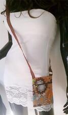 Colorful Flowers Print Messenger Shoulder HandBag Crossbody Women Beige Bag