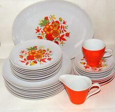 SEYEI Fine China ILIKAI #7006 Orange Dishes Plates Creamer Platter Saucer Cup