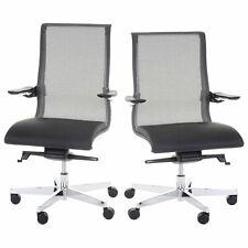 Bürostuhl MERRYFAIR Saville, Schreibtischstuhl Drehstuhl, Leder/Netz schwarz