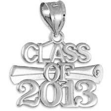 CLASS OF 2013 Graduation White Gold Charm Pendant