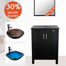 "24"" Black Bathroom Vanity Cabinet Wood Vessel Glass Sink W/ Faucet Drain Combo"