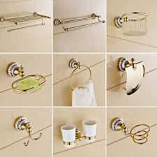 Luxury Gold Ceramic Base Bath Accessories Set Bathroom Hardware Towel Bar Ring
