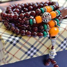 Joli Bracelet à Breloque Tête de Bouddha en Perles de Grenat Bordeaux