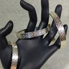 Solid Sterling Silver Bangle Bracelet Basket Weave Texture Wide Flat 9.6mm