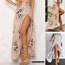 Gonna Lunga Donna a Portafoglio con Spacco Woman Maxi Skirt Flowers Print 130043
