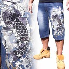New Japanese Pattern Mens Embroidery Jeans Shorts Capri Limited Edition Carp Koi